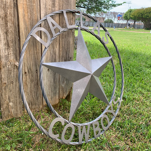 DALLAS COWBOYS RUSTIC GREY LONE STAR METAL ART WESTERN HOME DECOR