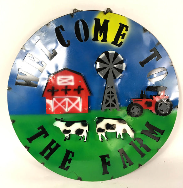 "15"" WELCOME TO THE FARM  METAL SIGN WALL ART WESTERN HOME DECOR BRAND NEW"