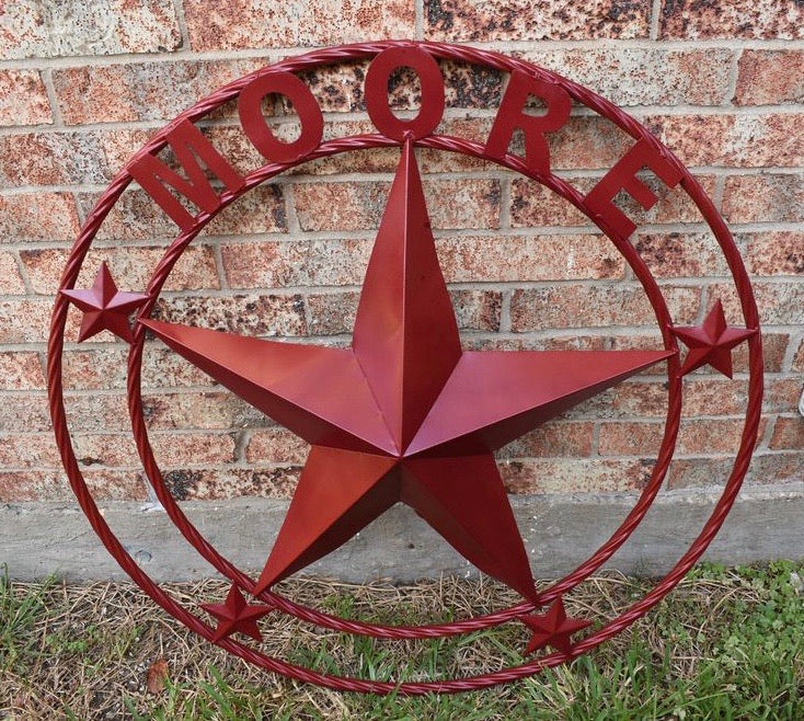 CUSTOM STAR METAL NAME BURGUNDY RED CUSTOM 3d STAR METAL NAME BARN STAR TWISTED ROPE RING DESIGN METAL WALL ART HOME DECOR ANY SIZE
