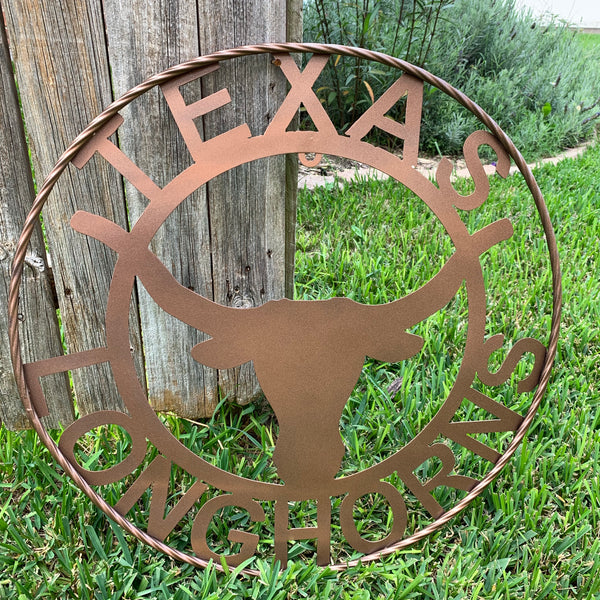TEXAS LONGHORNS METAL CUSTOM VINTAGE WALL ART RUSTIC BRONZE COPPER HANDMADE