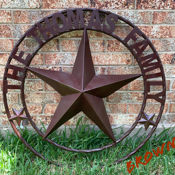 "BRONZE CUSTOM NAME METAL BARN STAR TWISTED ROPE RING WEATERN HOME DECOR VINTAGE RUSTIC NEW HANDMADE 24"",32"",34"",36"",40"",42"",44"",46"",50"""