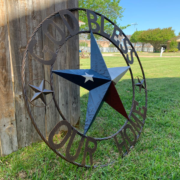 "24"", 32"", 40"" GOD BLESS OUR HOME LICENSE PLATE BARN METAL STAR ROPE RING WALL ART WESTERN HOME DECOR"
