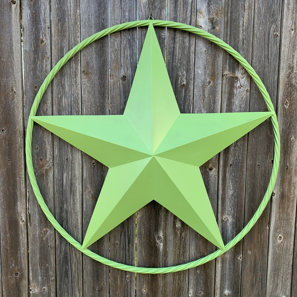 "APPLE GREEN 12"", 16"", 24"", 32"", 34"",36"",38"",40"",48"",60"",72"",84"",96"" BARN LONE STAR WITH TWISTED ROPE RING DESIGN METAL WALL ART WESTERN HOME DECOR NEW"