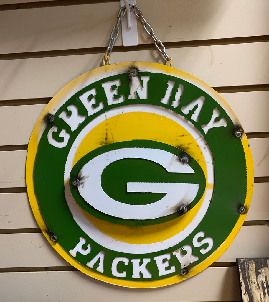 "15"" GREEN BAY PACKERS DISC METAL CUSTOM VINTAGE CRAFT TEAM SPORTS SIGN ART"