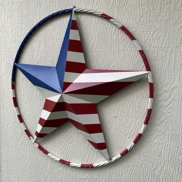 "USA METAL STAR PLAIN WITHOUT SMALL STARS WITH RED WHT BLU RING Western Handmade 12"",16"",24"",32""36"",38"",40"",48"""