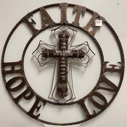 FAITH HOPE LOVE CROSS METAL WALL ART DARK BRONZE COPPER