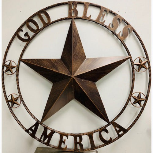 "42""God Bless America Metal Star With Twisted Rope RING DESIGN METAL WALL ART WESTERN HOME DECOR VINTAGE RUSTIC DARK BRONZE COPPER NEW"
