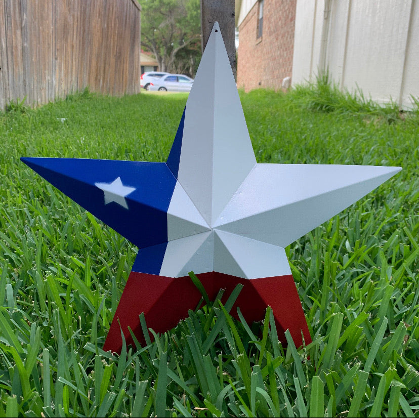 "12"",16"",24"",32"",36"" RED WHITE & BLUE METAL BARN STAR METAL WALL ART WESTERN HOME DECOR HANDMADE"