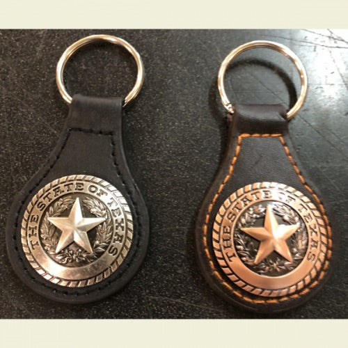 State of Texas Leather & Concho Key Fob Keychain Western Metal Fashion Art New