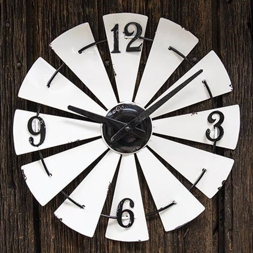 "14"" WINDMILL WHITE CLOCK FARMHOUSE WALL ART METAL WESTERN HOME DECOR NEW"