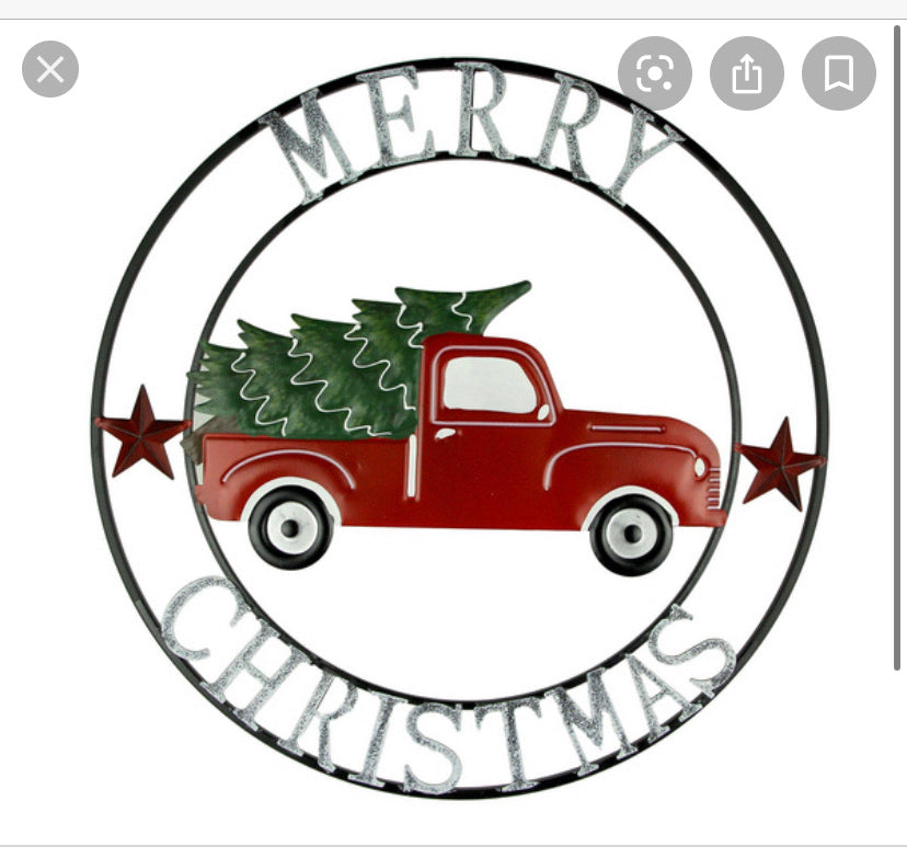 "18"",24"",32"",36"",40"" MERRY CHRISTMAS RED TRUCK METAL WALL ART CRAFT WESTERN HOME DECOR SEASONAL NEW RUSTIC STYLE HANDMADE"