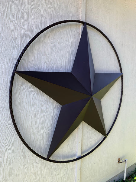 "48"" RUSTIC BROWN BARN LONE STAR WITH TWISTED ROPE RING METAL ART CRAFT"