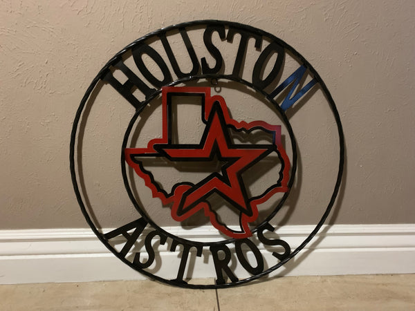"12"", 18"", 24"", 32"" HOUSTON ASTROS METAL COLLEGE WESTERN HOME DECOR WALL ART, BRAND NEW"