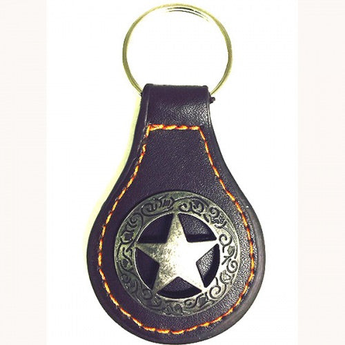Lone Star Leather & Concho Key Fob Keychain Western Metal Fashion Art New