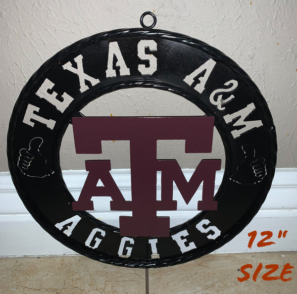 "12"" TEXAS A&M AGGIES METAL SIGN WESTERN HOME DECOR SPORTS VINTAGE ART"