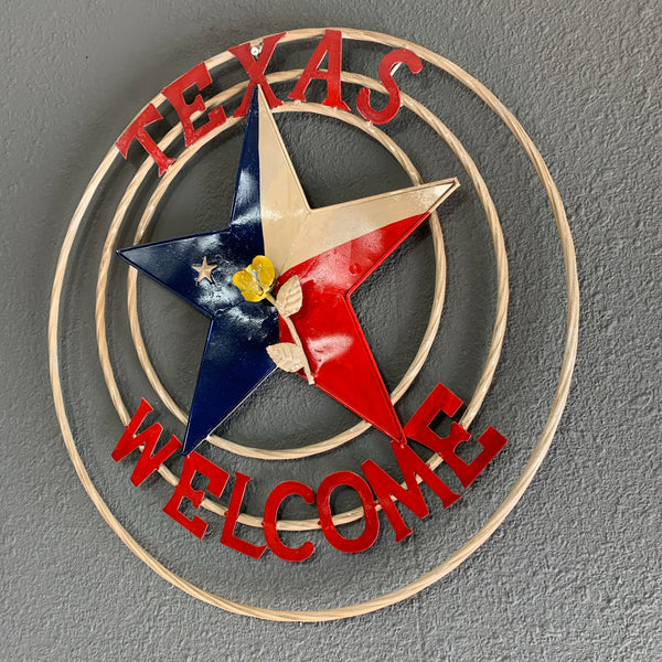 "24"" TEXAS WELCOME Metal Wall Art Western Home Decor Vintage Rustic Red White & Blue Art"