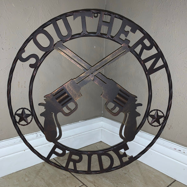 "24"" SOUTHERN PRIDE GUNS PISTOLS METAL WALL ART WESTERN HOME DECOR NEW"