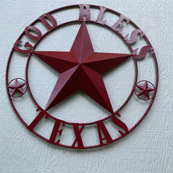 "24"",32"",40"" BURGUNDY RED GOD BLESS TEXAS BARN STAR ROPE RING METAL WALL ART WESTERN HOME DECOR NEW"