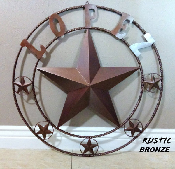 "CUSTOM STAR NAME BARN METAL STAR 3d TWISTED ROPE RING WESTERN HOME DECOR VINTAGE BRONZE RUSTIC NEW HANDMADE 24"",32"",36"",40"",42"",44"",46"",50"""