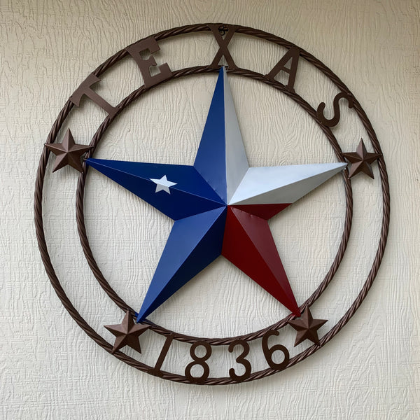 TEXAS 1836 RED WHITE BLUE BARN STAR WITH TWISTED ROPE RING DESIGN METAL WALL ART WESTERN HOME DECOR VINTAGE RUSTIC TEXAS FLAG COLORS NEW