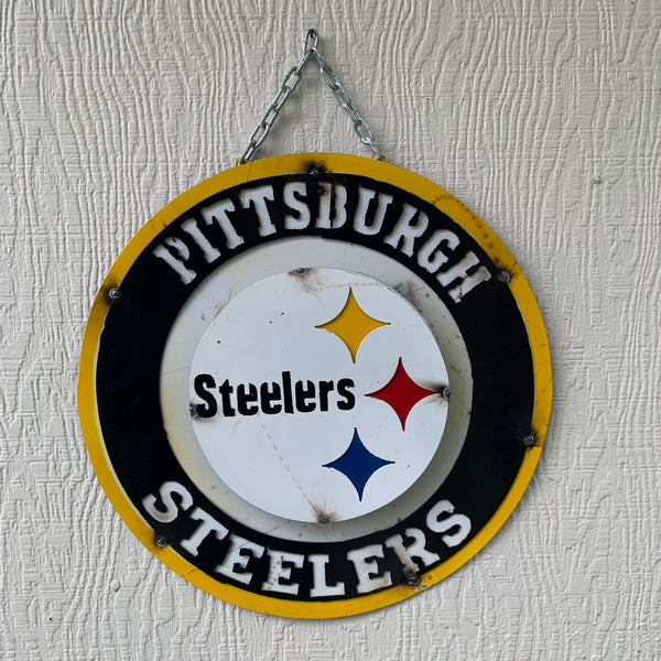"15"" PITTSBURGH STEELERS METAL DISC CUSTOM VINTAGE CRAFT TEAM SPORTS SIGN"