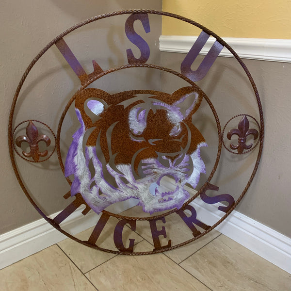 "12,18"",24"",32"" LSU TIGERS PURPLE WHITE CUSTOM METAL TEAM VINTAGE CRAFT HANDMADE"
