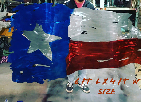 TEXAS FLAG Metal Art Large Western Home Decor New 6ft x 4 ft