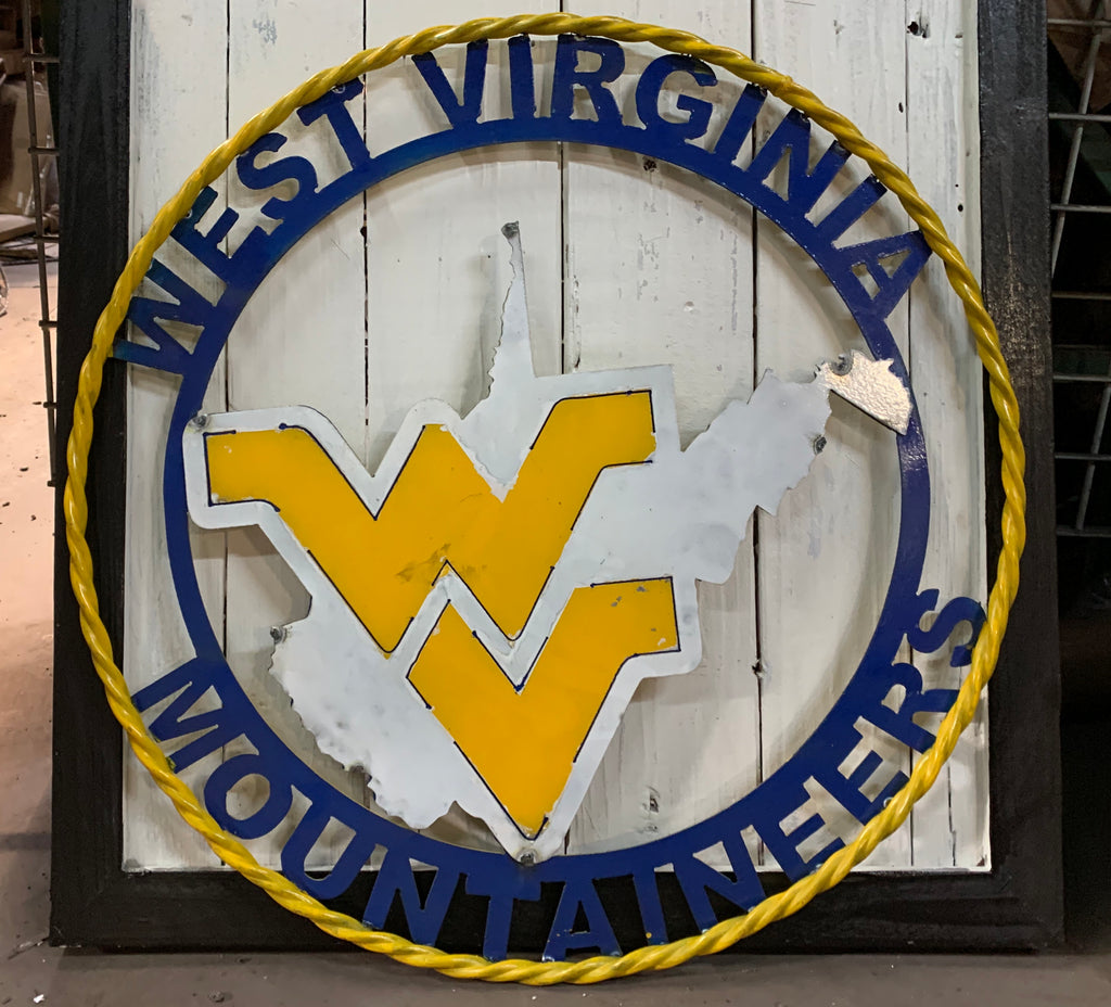 "12"", 18"", 24"", 32"" WEST VIRGINIA CUSTOM VINTAGE CRAFT METAL TEAM SIGN HANDMADE"