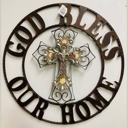 GOD BLESS OUR HOME CROSS METAL WALL ART DARK BRONZE COPPER