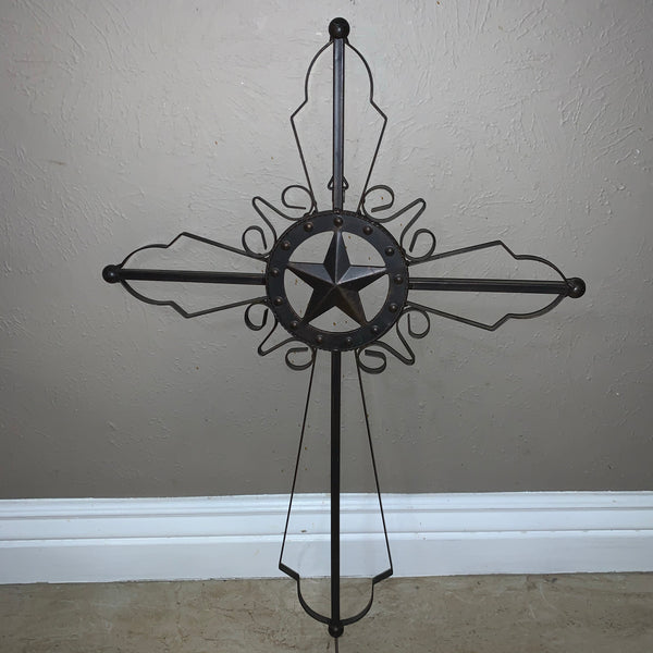 STAR METAL CROSS WALL ART DARK BRONZE COPPER