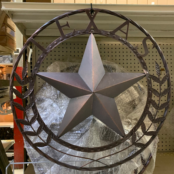 "24"" TEXAS LEAF STAR METAL WALL ART WESTERN HOME DECOR RUSTIC BRONZE COPPER"