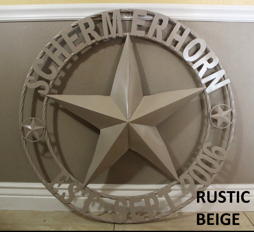 "CUSTOM STAR METAL NAME BARNBIEGE STAR 3d WITH TWISTED ROPE RING DESIGN METAL BEIGE WALL ART WESTERN HOME DECOR VINTAGE RUSTIC NEW HANDMADE, 24"", 32"", 36"", 40"", 44"", 46"", 50"""