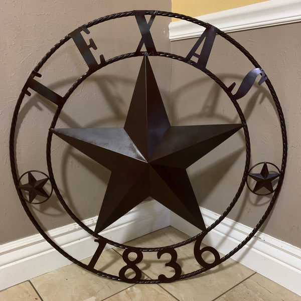 "24"", 32"", 36"", 40"", 44"", 50"" RUSTIC BROWN TEXAS 1836 BARN STAR METAL ART WESTERN HOME DECOR VINTAGE RUSTIC DARK BROWN NEW"