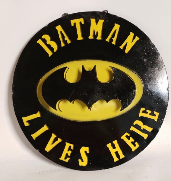"15"" BATMAN LIVES HERE METAL SIGN WALL ART WESTERN HOME DECOR BRAND NEW"