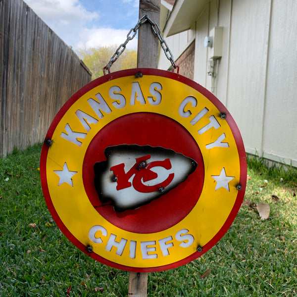 "15"" KANSAS CITY CHIEFS CUSTOM VINTAGE METAL TEAM DISC WALL ART WESTERN HOME DECOR CRAFT HANDMADE"