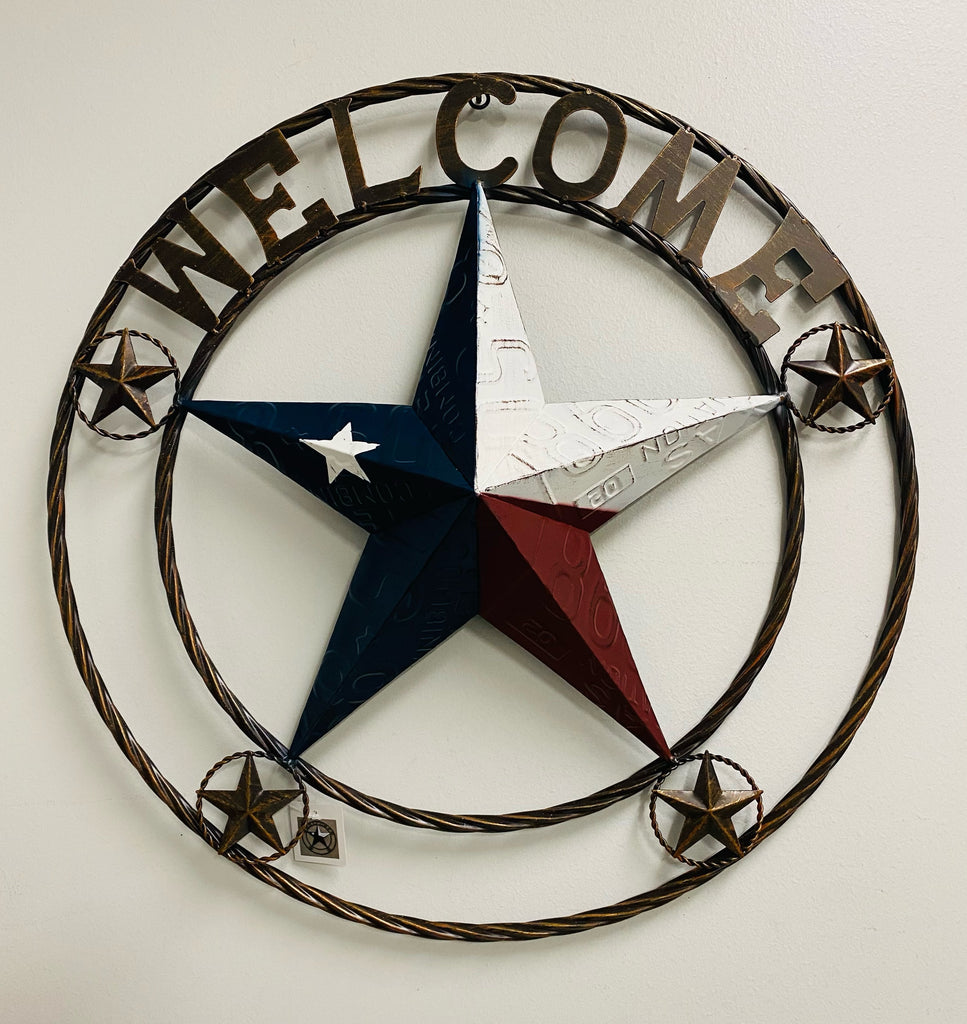 "24"",32"" WELCOME LICENSE PLATE RED WHITE BLUE BARN STAR WITH TWISTED ROPE RING METAL WALL ART WESTERN HOME DECOR"