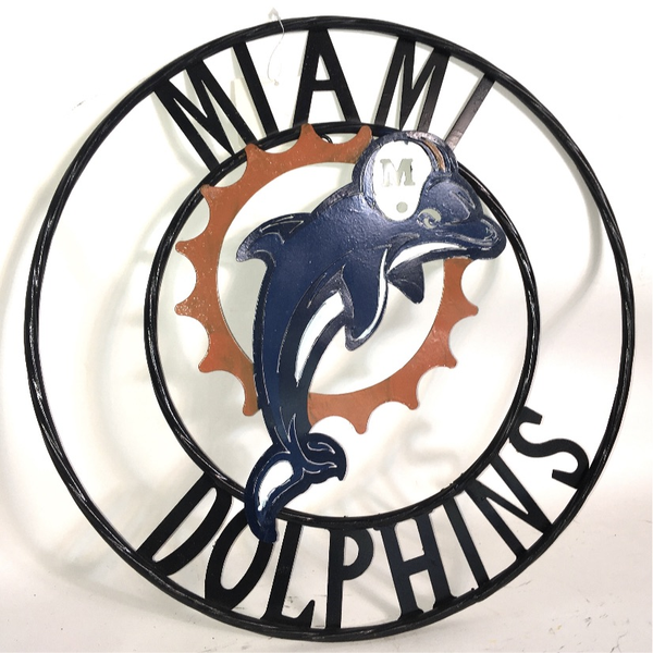 "12"", 18"", 24"", 32"" MIAMI DOLPHINS METAL COLLEGE WALL ART WESTERN HOME DECOR BRAND NEW"