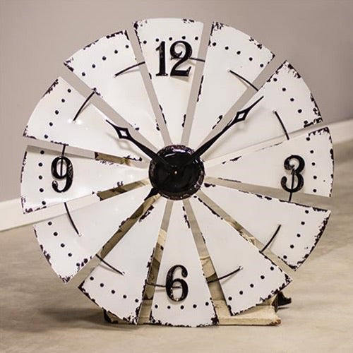 "33"" WINDMILL CLOCK FARMHOUSE WALL ART METAL WESTERN HOME DECOR NEW"