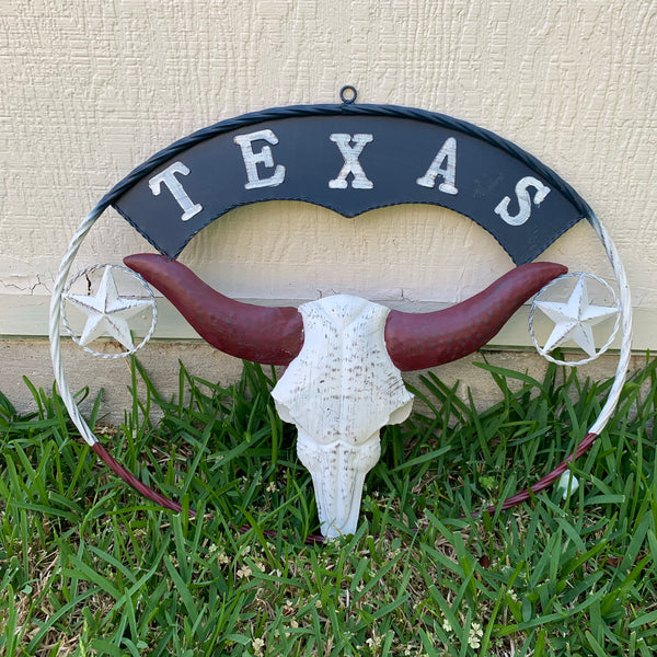 "24"" X 18"" TEXAS LONGHORNS METAL ART WALL DECOR WESTERN HOME DECOR NEW RUSTY BROWN NEW"
