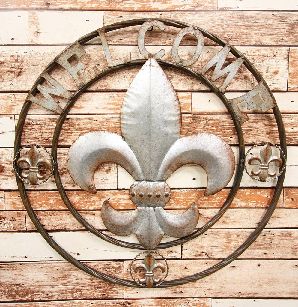 "24"", 32"" FLEUR DE LIS WELCOME GALVANIZED RAW METAL WALL ART WESTERN HOME DECOR GALVANIZED"