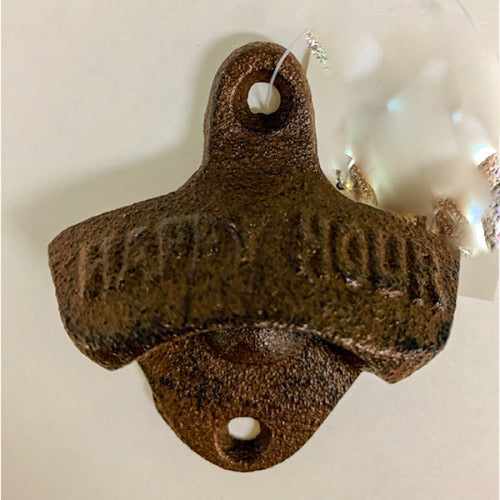 HAPPY HOUR BOTTLE OPENER CAST IRON METAL WESTERN HOME DECOR CRAFT