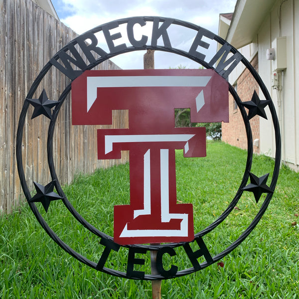 WRECK'EM TECH CUSTOM VINTAGE CRAFT METAL TEAM SIGN