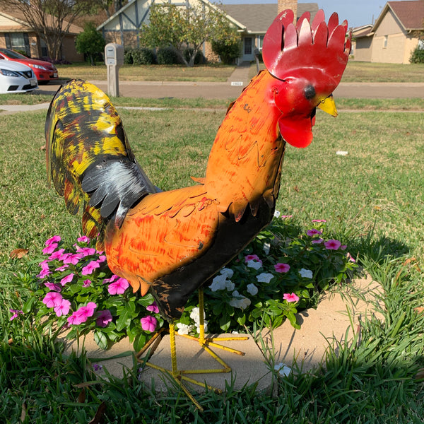 "16"",24"",30"" ROOSTER GARDEN ANIMAL SCULPTURE METAL DECOR ORNAMENT 16""L x 20"" high"