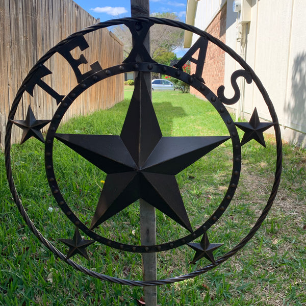 TEXAS BEADED BARN STAR WITH TWISTED ROPE RING DESIGN METAL WALL ART WESTERN HOME DECOR VINTAGE RUSTIC BRONZE ART