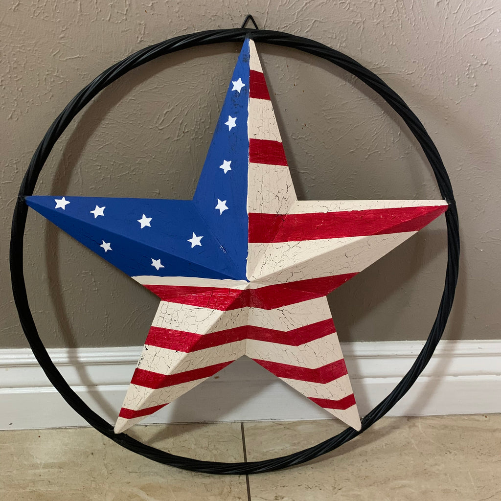 "AMERICAN USA Flag Crackle Paint Style Star Metal Wall Art Western Home Decor Handmade 9"",12"",16"",24"",30"",34"",36""-- FREE SHIPPING"