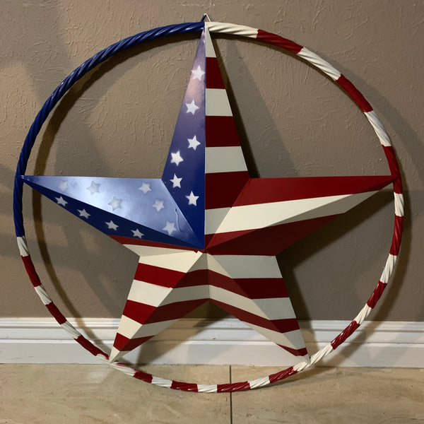 "AMERICAN USA FLAG STAR METAL Barn Rope RING WITH RED WHT BLU RING Western Handmade 12"",16"",24"",32""36"",38"",40"",48"""