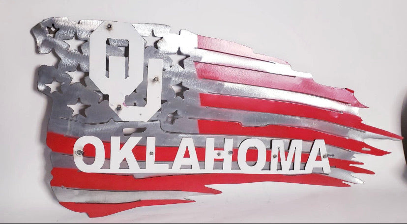 OU OKLAHOMA SOONERS METAL FLAG WALL ART NEW 6ft x 4 ft