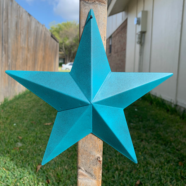 RUSTIC TURQUOISE TWO TONE BARN METAL STAR WESTERN HOME DECOR ART NEW