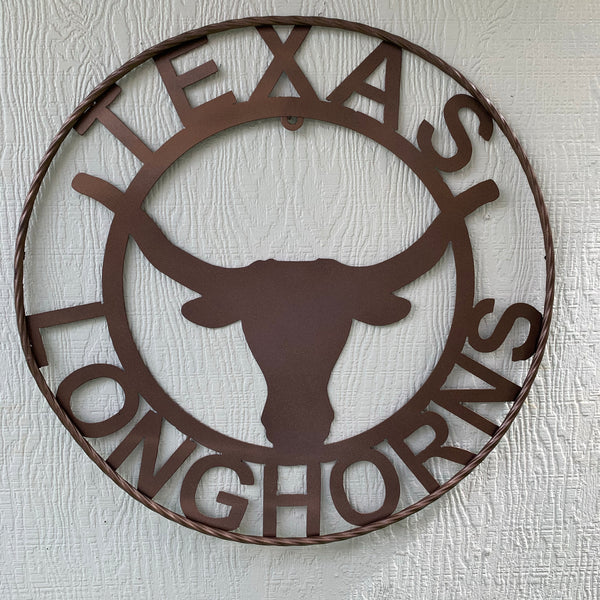 TEXAS LONGHORNS METAL CUSTOM VINTAGE WALL ART RUSTIC BRONZE OFFICIAL LICENSED PRODUCT