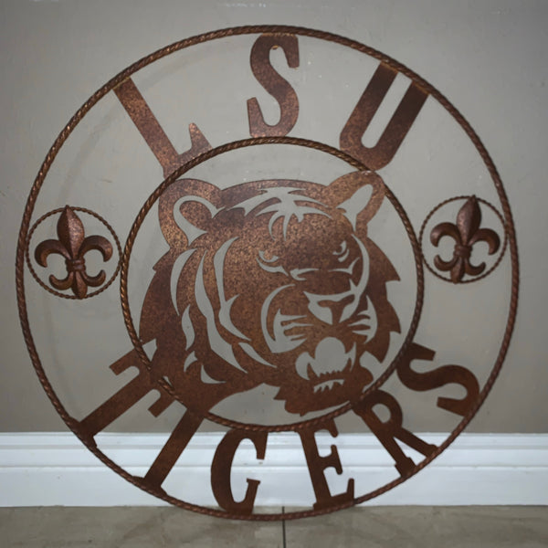 "12:,18"",24"",32"",36"" LSU TIGERS METAL CUSTOM VINTAGE CRAFT ART SIGN"